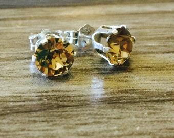 Topaz Swarovski Crystal Sterling Silver Earrings