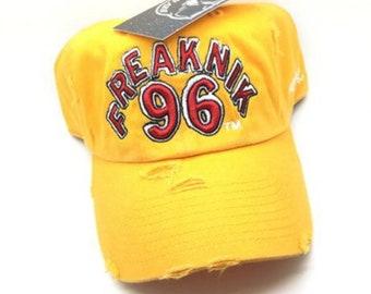 0e5eaaffd42 Yellow Distressed Freaknik 96 Dad Cap Hat