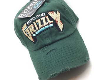 8661a077b34 Forest Green Distressed Stayin On My Grizzly Dad Cap Hat