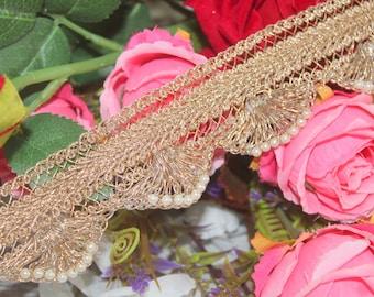 On sale 8 yard Traditional Ethnic handmade in India Bright Pink Fuchsia LaceTrim with Gota Patti Border work SariCurtainDupattaScrapbook