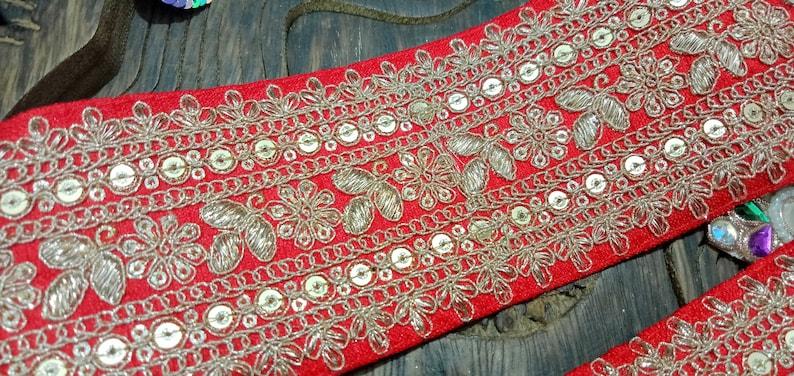 2.8 Yard Latest Indian Maroon  Zari Sequin Velvet Lehenga Dupatta Sari lace Trim