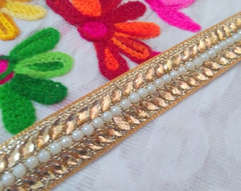 Decorative Trim Costume trim Indian Sari Border Ribbon Tape Gold Kundan Trim Stone Work Trim by the Yard Sewing ft425