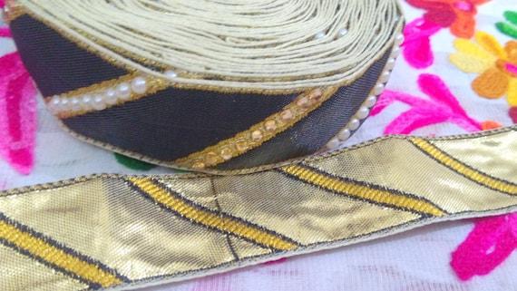 9 Cour noir Base Sequinnned Sequinnned Base brodé tissu garniture-Sari Beige-tissu de soie tissu garniture-Art Quilt tissu-soie ruban par le chantier ft326 3e90b6