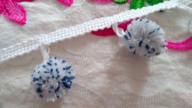 Boho Gypsy FRT23 Indian Trim Belly Dance 1 yards White Pom Pom Trim Fringe Pom Poms Scarf pom pom trim Multi Color Pompom lace