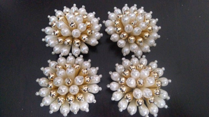2 pc Indian appliques Designer White Coral Shaped Pearl Flower  4ffc78577f0e