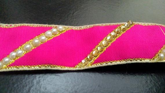 9 Yard Hot Pink Base Sequin Embroidered Fabric Trim-Sari Trim-Sari Fabric Fabric-Beaded soie tissu de garniture-Art Quilt tissu-ruban de soie par yard ft317 131b07