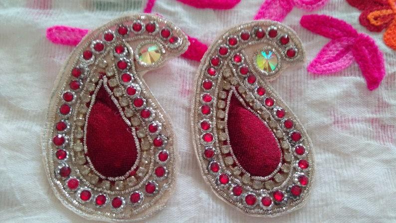 Indian Red Velvet Apliques Coser Craft motivos accesorios de moda hazlo tú mismo 4pc