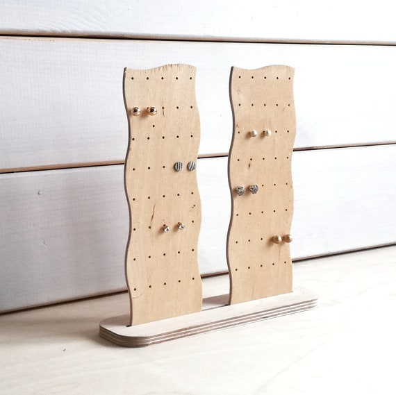 Stud earring holder display rack wooden jewelry storage organizer
