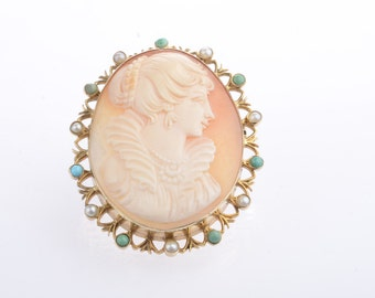 Vintage style Shell Cameo with Pearl and Turquoise Border