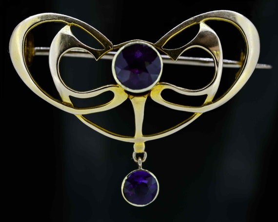 15ct Art Nouveau Amethyst Brooch,Art Nouveau Perio