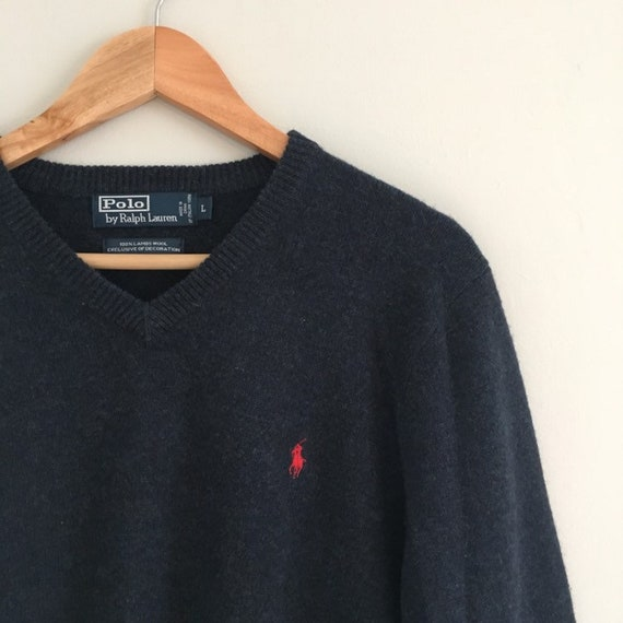 FREE US SHIPPING | Vintage 90s Polo by Ralph Lauren 100% Lambs Wool Slate Blue V Neck Sweater | Large