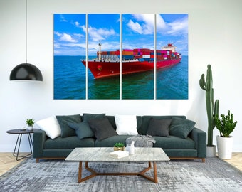 Container Cargo Ship Picture on Canvas, Logistic Art for Wall, Business Decor for Office, Big Red Ship Large Art for Living Room, Seascape
