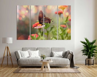 Butterfly on Pink Flowers Wall Art, Butterfly Decor Home, Butterfly Painting on Canvas, Flowers Design Decor for Wall, Nature Print Canvas