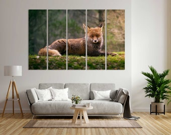 Cute Red Fox Contemporary Art for Wall, Fox Art for Gifts, Fox Pictures Print on Canvas, Fox Design Artwork for Home, Fox Art for Home