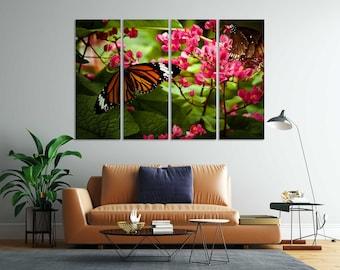 Butterflies on Flowers Print Canvas, Nature Wall Decor, Butterflies Painting on Canvas, Butterflies Design Decor for Wall, Botanic Decor