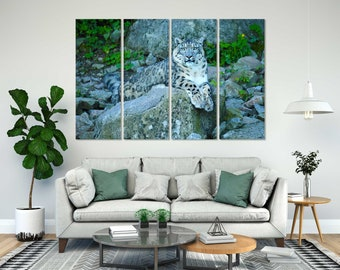 Leopard on Stone Printing Canvas, Leopard Photo Painting, Leopard Picture for Wall, Wild Animals Decor, Safari Prints, Wildlife Wall Art
