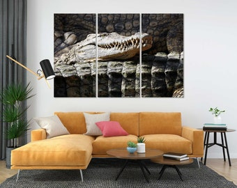 Crocodile Stylish Decor for Home, Crocodile Portrait Print, Crocodile Canvas Art, Wild Animals Canvas Sets, Crocodile Image Print Canvas