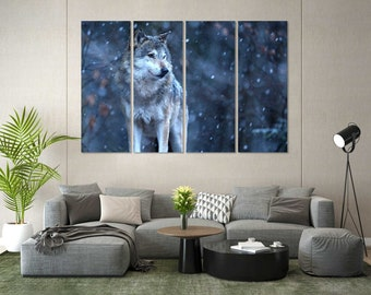 Wolf Art for Home Decor, Wild Animals Print Art on Canvas, Wolf in Winter Forest Arts, Wolf Painting Wall Art, Winter Forest Print Canvas