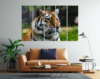Tiger Print Large Decor for Wall, Tiger Painting on Canvas, Tiger Decoration for Home, Big Cat Painting Art, Tiger Original Art, Wild Animal