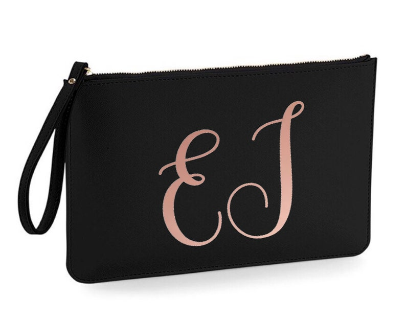 Wedding Accessory Pouch Personalised Bridesmaid Gift - Leather Look PU Brides Purse Personalised Wristlet Clutch Bag Initials
