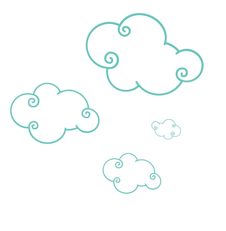 100 Whimsical Cloud Wall Stickers - Mixed Sizes Fluffy Clouds Between 3 &  12 inches - Raincloud Wall Decals -