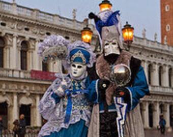 Blue and Silver Venice carnival or masquerade costume