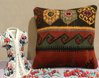 kilim pillow, turkish pillow,kilim pillow,kilim pillow cover,pillow covers 16x16,16x16inch,40x40cm