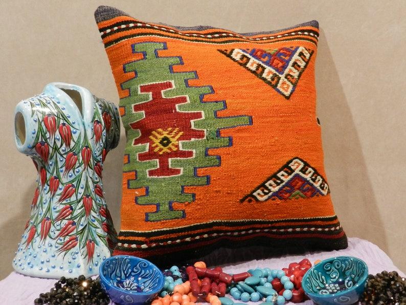 kilim pillow,turkish pillow,handmade pillow,decorative pillows,kilim pillow cover,pillows,pillow covers 16 x 16,16x16inch,40x40cm