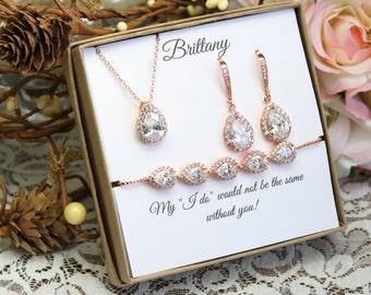 Custom color Bridesmaid gift set, Bridesmaid necklace bracelet earrings set, Bridesmaid necklace, Bridesmaid earrings, Wedding jewelry set