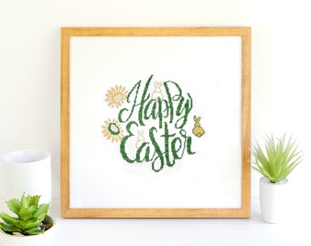 Happy Easter cross stitch pattern a cute home decoration Easter Bunny cross stitch Rabbit cross stitch Easter ornament Easter decor DIY