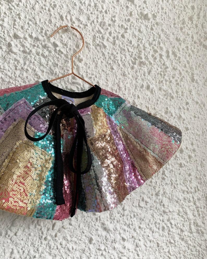 Sequin collage mini cape