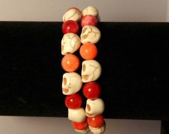 Creamy Skulls Peachy Themed Wrap Cuff BRacelet