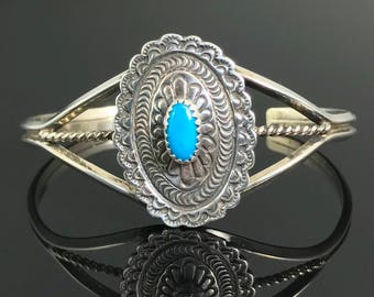 Concho Cuff Bracelet Turquoise Native American Navajo Sterling Silver