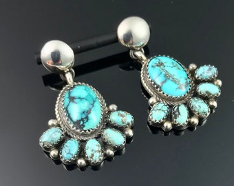 Native American Navajo Louise Yazzie 925 Sterling Silver Turquoise Cat Earrings