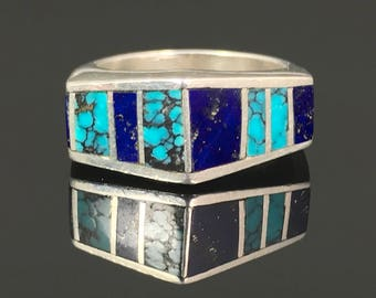 Spiderweb Turquoise & Lapis Inlay Band Ring Native American