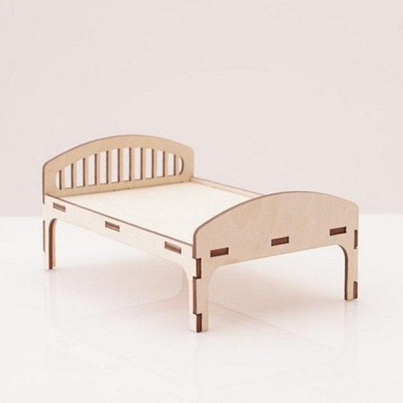 bed wood dollhouse furniture wooden handmade doll bed doll. Black Bedroom Furniture Sets. Home Design Ideas