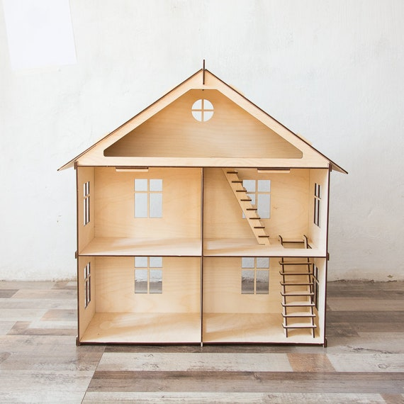 Two Storey House With Stairs House With Attic Doll House Etsy