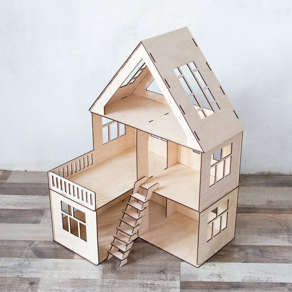 Dollhouse With Stairs Doll House Dollhouse Wood Etsy