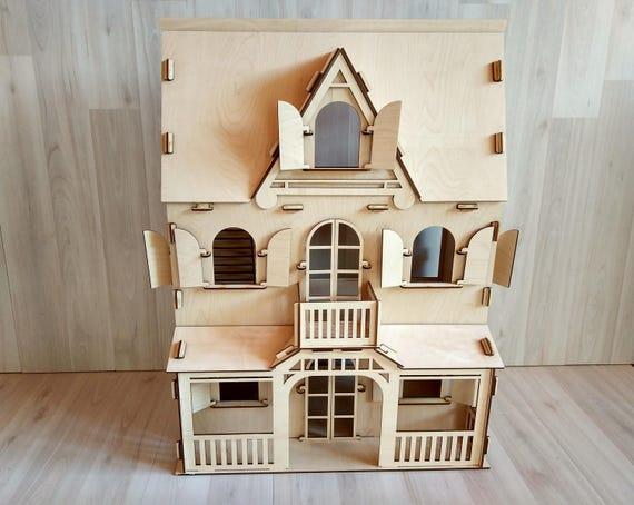 Natural Wooden Dollhouse Toy Dollhouse Vintage Dollhouse Etsy