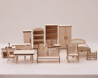 Full set of furniture for Dollhouse - Doll Furniture