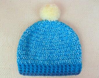 Pom pom Hat, Crochet Hat, Woolly Hat, Bobble Hat, Winter Hat, Beanie, Crochet Beanie,