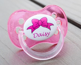 PERSONALISED DUMMY PACIFIER SOOTHER ANIMAL PINK FONT ALL TEATS,SIZES /& COLOURS