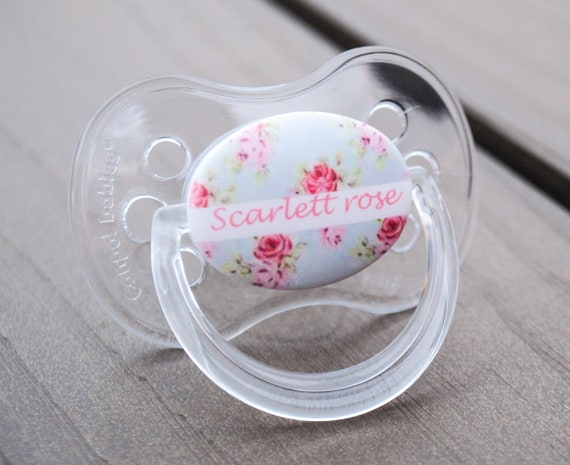 PERSONALISED DUMMY PACIFIER SOOTHER ALL TEATS,SIZES /& COLOURS PERSONALISED PIN