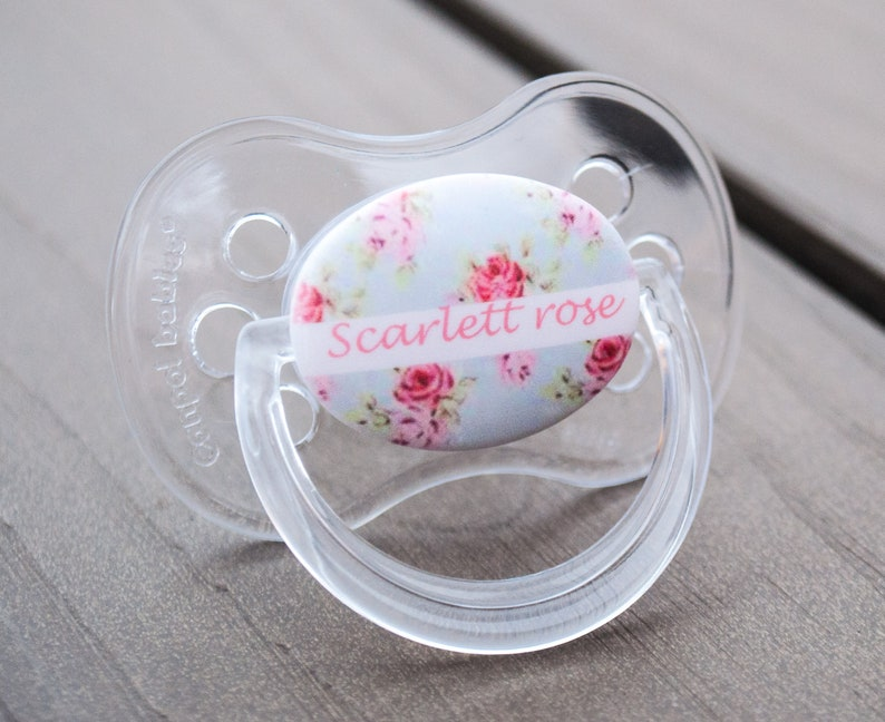 PINK CROWN 3 PERSONALISED DUMMY PACIFIER SOOTHER,ALL TEATS,SIZES /& COLOURS