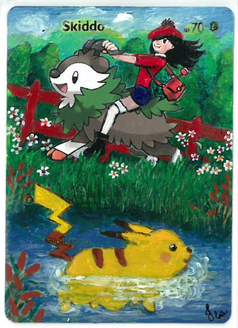 Skiddo Pikachu Pokemon Extended Art Trading Card Etsy
