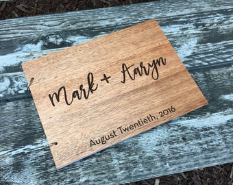 """Personalized Wedding Guestbook, Wedding Guest Book, Wood Guest Book, Rustic Guest Book, Unique Guestbook - """"Engraved & Personalized For You!"""