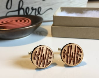 Monogram Cufflinks | Personalized Cuff Links | Wood Cuff Links | Anniversary Gift for Him | Groomsmen Cufflinks | Custom Cufflinks | Groom