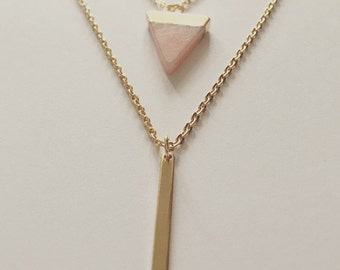 18k Gold Filled Pink Stone Triangle And Gold Bar Pendant Necklace