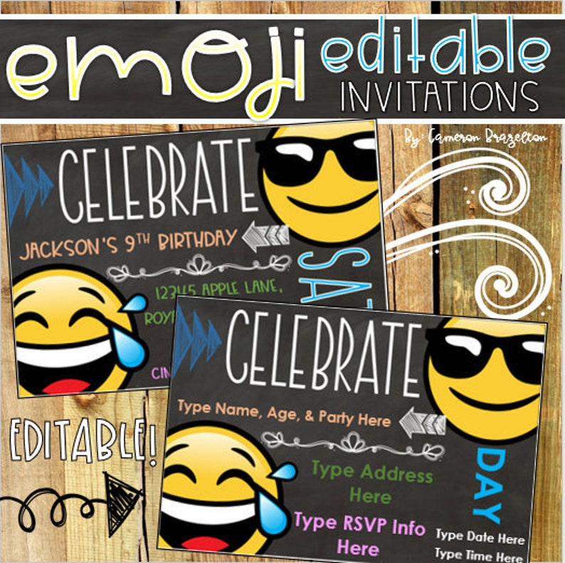 Emoji Smiley Happy Face Theme Birthday Party Invitation
