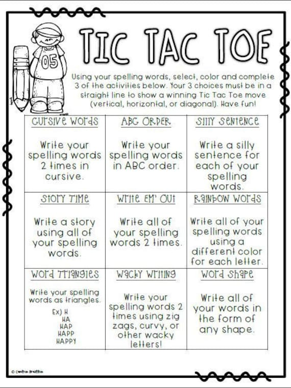 Spelling choice board homework sample research paper outline mla